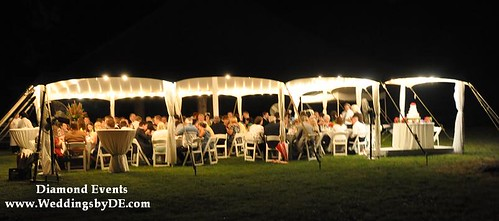 Tent wedding reception at night