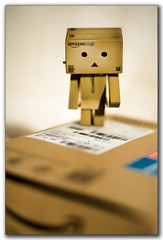 Danbo has arrived! ('PixelPlacebo') Tags: brown cute japan ego toy 50mm robot soft ebay dof photos bokeh f14 adorable mini buddy adventure plastic journey alter unpacked danbo revoltech danboard cardbo