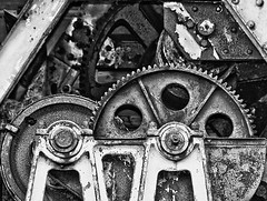 Derelict Crane. (Shivva999) Tags: blackandwhite abandoned metal crane rusty gritty machinery cogs gears derelict