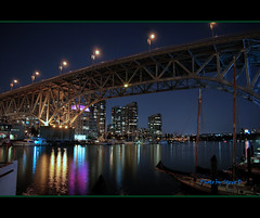Granville Island (HDR) (Steve Desko) Tags: nightphotography bridge canada night vancouver reflections nikon photographer bc britishcolumbia bridges nikond70s photograph vancouverbc hdr 2010  3xp  photomatix  tonemapped