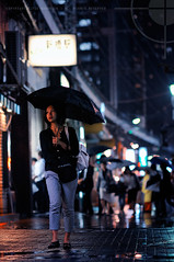 After The Typhoon Had Passed; Shimbashi, Tokyo (Alfie | Japanorama) Tags: street city woman streets cute girl rain japan lady night umbrella lights tokyo evening nikon asia neon pretty afterthestorm young raining typhoon shimbashi d300 jaanese tokyostreetphotography nikkor85mmf14afd afterthetyphoonhadpassed theraindrebchedstreetssplashedwithneon