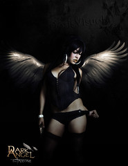 dark angel (Tadeone! (DV)) Tags: street light urban music black hot anime color sexy art girl face rock metal angel photoshop pose dark hair photo dc wings model women friend