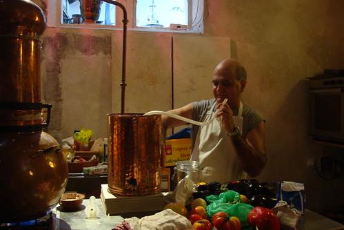 Chef Erik Vedel distilling lavender