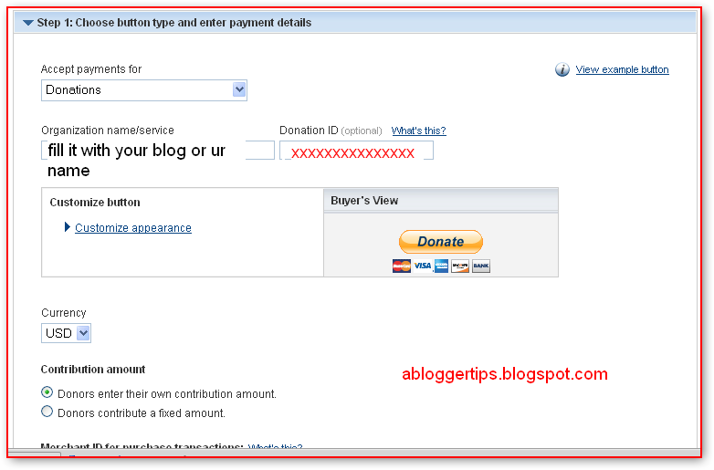 how to add paypal donation buttom in blogger.com blog