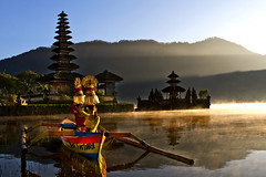 Pura Ulun Danu, Bedugul, Bali - Morning by the lake (Mio Cade) Tags: trip morning bali woman sun lake colour reflection water girl lady female sunrise canon pose indonesia landscape temple eos model colorful asia colourful pura ulun danu arrange polariser bedugul