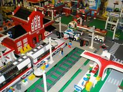 Leneville Lego Train & Monorail Station (davieboy0129) Tags: city station train layout town lego monorail custom moc afol