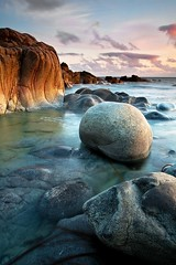 The Boulder (Tony Armstrong-Sly) Tags: longexposure sea england sky seascape beach nature rock clouds landscape coast cornwall surf shoreline boulder erosion shore stjust cotvalley porthnanven