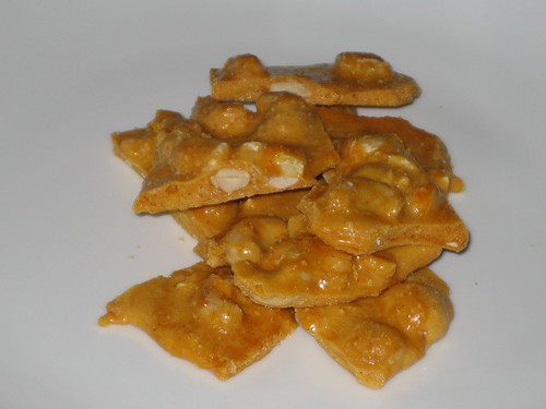 cashew, macadamia nut, almond and coconut brittle with fleur de sel and cayenne
