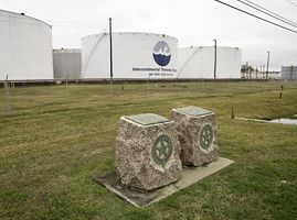 Republic of Texas battle monuments paired with a tank farm (Courtesy CLUI)