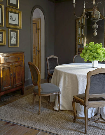 Gray dining room: Pratt & Lambert paint + Régence chairs