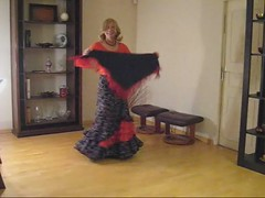 Nadia's first try flamenco dancing (bardot necchia) Tags: woman sexy boobs bbw dancer tgirl mature blonde flamenco spanishskirt mtfcrossdressing