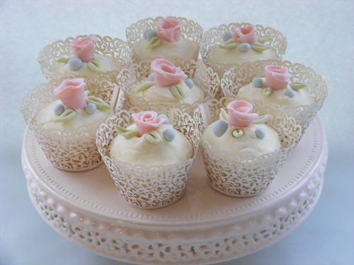 cream and pastel cupcakes