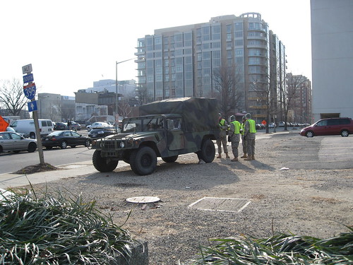 Military vehicle stationed at 4th and K