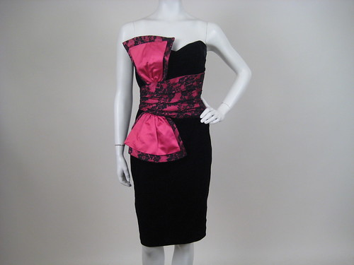 "Heavy Carved Mirror · 80s ""Dynasty"" black and pink velvet cocktail dress"