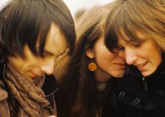 Chitchat (zedworks) Tags: girls friends portrait film boys smile closeup analog geotagged kodak practica romania m42 photowalk trio deni tgmures jupiter9 mures denisa targumures mtl3 profoto100 f285mm fotomures geo:lat=46545506 geo:lon=24579431 scrijelit accesdenyed