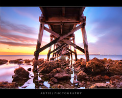 Moonta Bay Jetty, South Australia (II) :: HDR (Artie | Photography :: I'm a lazy boy :)) Tags: longexposure sunset red sea sky reflection beach water clouds photoshop canon sand bravo rocks cs2 ripple jetty tripod australia wideangle calm clear shore adelaide 1020mm peninsula southaustralia hdr corals yorke foreshore artie moontabay yorkepeninsula moonta 3xp sigmalens photomatix tonemapping tonemap 400d rebelxti moontabayjetty