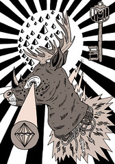 _ (pearpicker.) Tags: illustration digital key drawing flash diamond deer electricity pearpicker