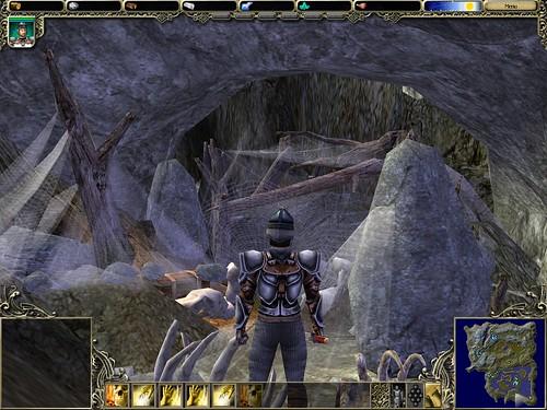 exploring a web-tangled cave