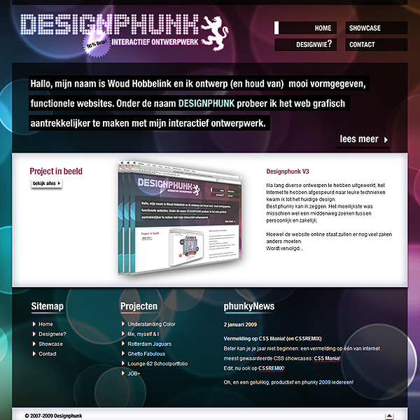 Design Phunk website that uses color well.