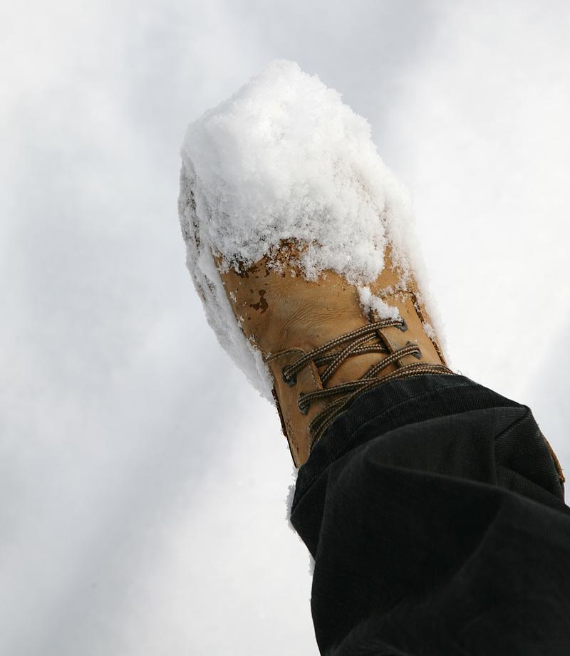 snö på skon