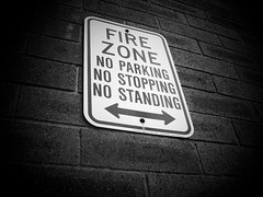 (Lindsay*) Tags: blackandwhite sign noparking bricks nostopping nostanding firezone kingkullen