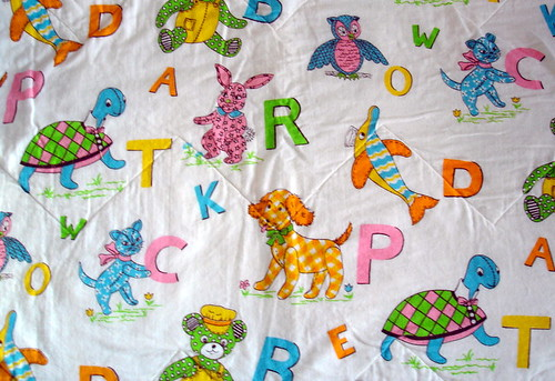 vintage animal and letter fabric