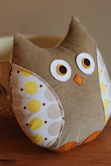 Yellow Polka Dots Patchwork Owl (Retro_Mama) Tags: brown bird wool handmade stripes felt plush explore polkadots softie patchwork corduroy denyseschmidt katiejumprope
