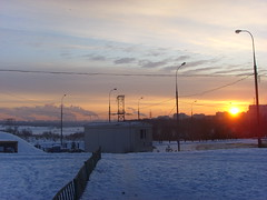 Sunset () Tags: street city blue winter sunset orange snow lamp clouds buildings dark russia moscow border steam poles factories saburovo