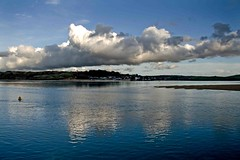 Dusk (egefan - Suzan Almond) Tags: blue england weather clouds reflections river evening cornwall dusk front calm estuary camel passing through buoy padstow buoyant img1523