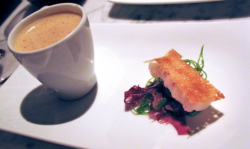 "Lobster tail with Lobster  ""Cappuccino"""