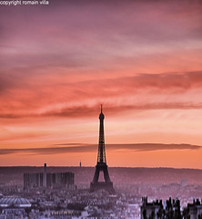 sunrise on paris (romvi) Tags: sunset paris france tower monument architecture de atardecer soleil nikon europe tramonto colours tour couleurs coucher eiffel montmartre roofs villa vue romain depuis toits d90 romainvilla romvi