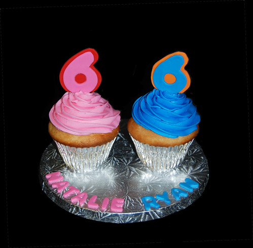 Two 6th birthday celebrations cupcake tower topper
