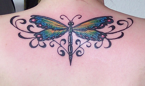 A stand out tattoo, a dragonfly design with a few extra flourishes.