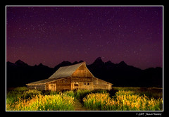 Moulton Barn Under Starlight (James Neeley) Tags: nightphotography lightpainting landscape searchthebest grandtetons tetons grandtetonnationalpark gtnp mormonrow antelopeflats moultonbarn jamesneeley
