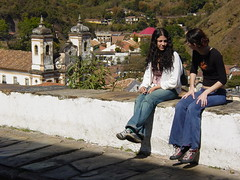 Young Women Chat on the Street - Ouro Preto - Minas Gerais - Brazil