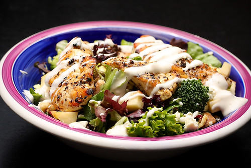 Grilled Chicken, Apples, Walnuts, Crumbled Bleu Cheese, Brocolli
