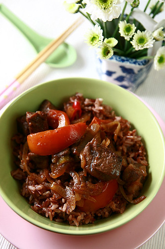 how to make beef cubes and rice