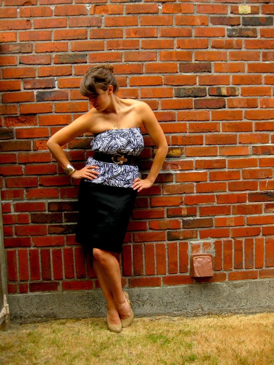 086930863a1 black and white skirt-remixed as a top and black pencil skirt