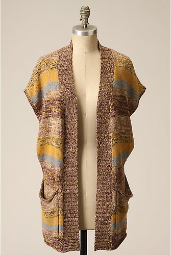 anthro yellow stripe cardi vest