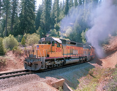 "In May, 1984, 2 Union Pacific 3000 horsepower EMD-built SD40 locomotives, 3104 and 3348, lead a northbound freight train on the former Western Pacific ""highline"" in northern California, for interchange with the Burlington Northern at B"