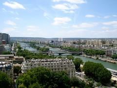 View from eiffel tower (89tomass) Tags: bridge paris france tree seine river view eiffel uildings toweer
