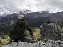 Andrea in cima alla Torre Lusy - Climbing in Cinque Torri, Dolomiti