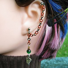 Autumn Leaf Cartilage Chain Earring