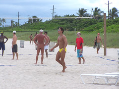 Haulover Beach, Miami Volleyball (Casino Jones) Tags: beach florida miami hollywood nudist hotguys haulover speedos hunks clothingoptional