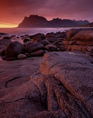 Bloodlight, Utakleiv, Norway. (Richard Childs) Tags: norway coast large format provia landscapesshotinportraitformat