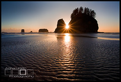 Ripples To The Sun - Olympic Peninsula, Washington (Adrian Klein) Tags: ocean park sunset summer texture beach canon washington klein kevin northwest calm national workshop sunburst adrian serene ripples olympic ruby cloudless forks peninsula tranquil gitzo secondbeach seastack sunstar mcneal phototour