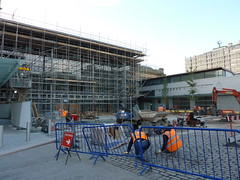 September 2009: Continued construction at Union Square, Guild Street, Aberdeen shows work underway to landscape the square outside atrium and train booking office (iainh124a) Tags: uk bus retail train mall lumix scotland railway shoppingcentre panasonic aberdeen hammerson tz7 millerconstruction dmczs3 iainh124a dmctz7 zs3