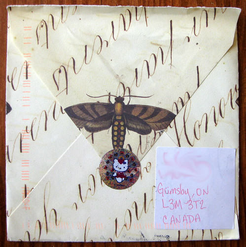 Moth envelope with Hello Kitty peacock sticker
