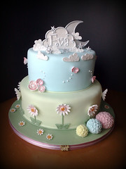 In The Night Garden Theme ... Naming Ceremony Cake (SmallThingsIced) Tags: clouds daisies stars butterflies chocolatecake fondant namingceremony inthenightgarden 2tiercake flowerballs homersiliad