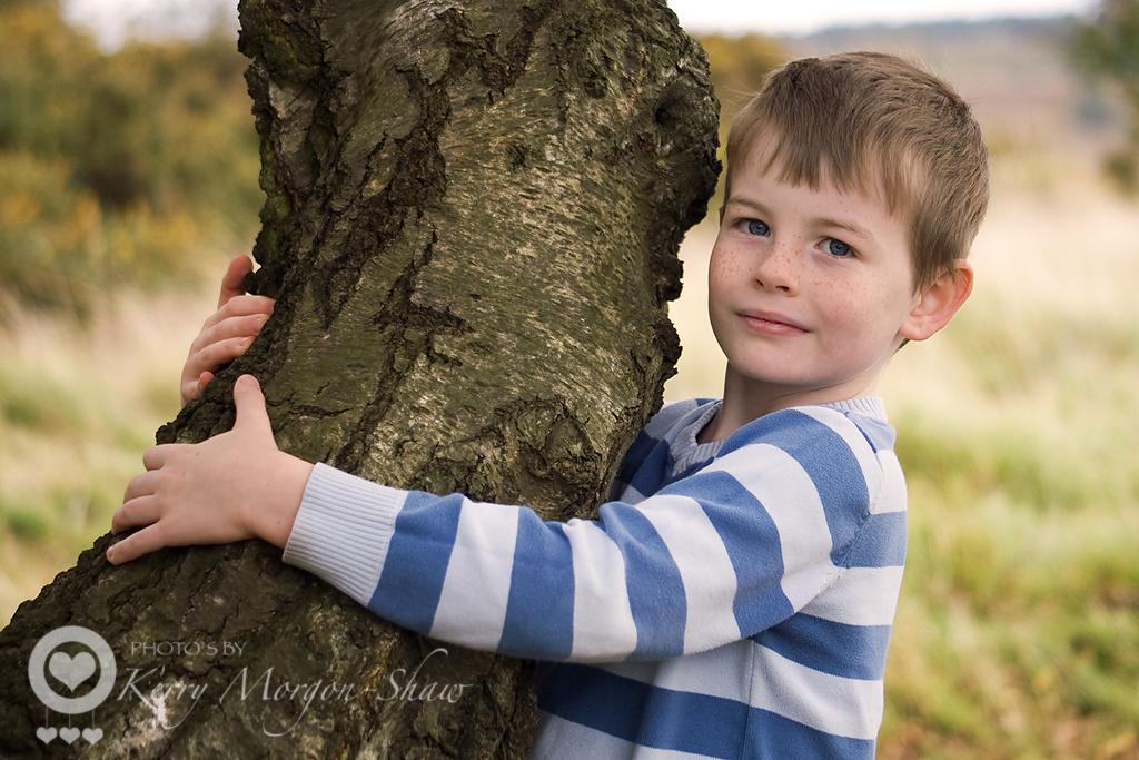My little tree hugger!